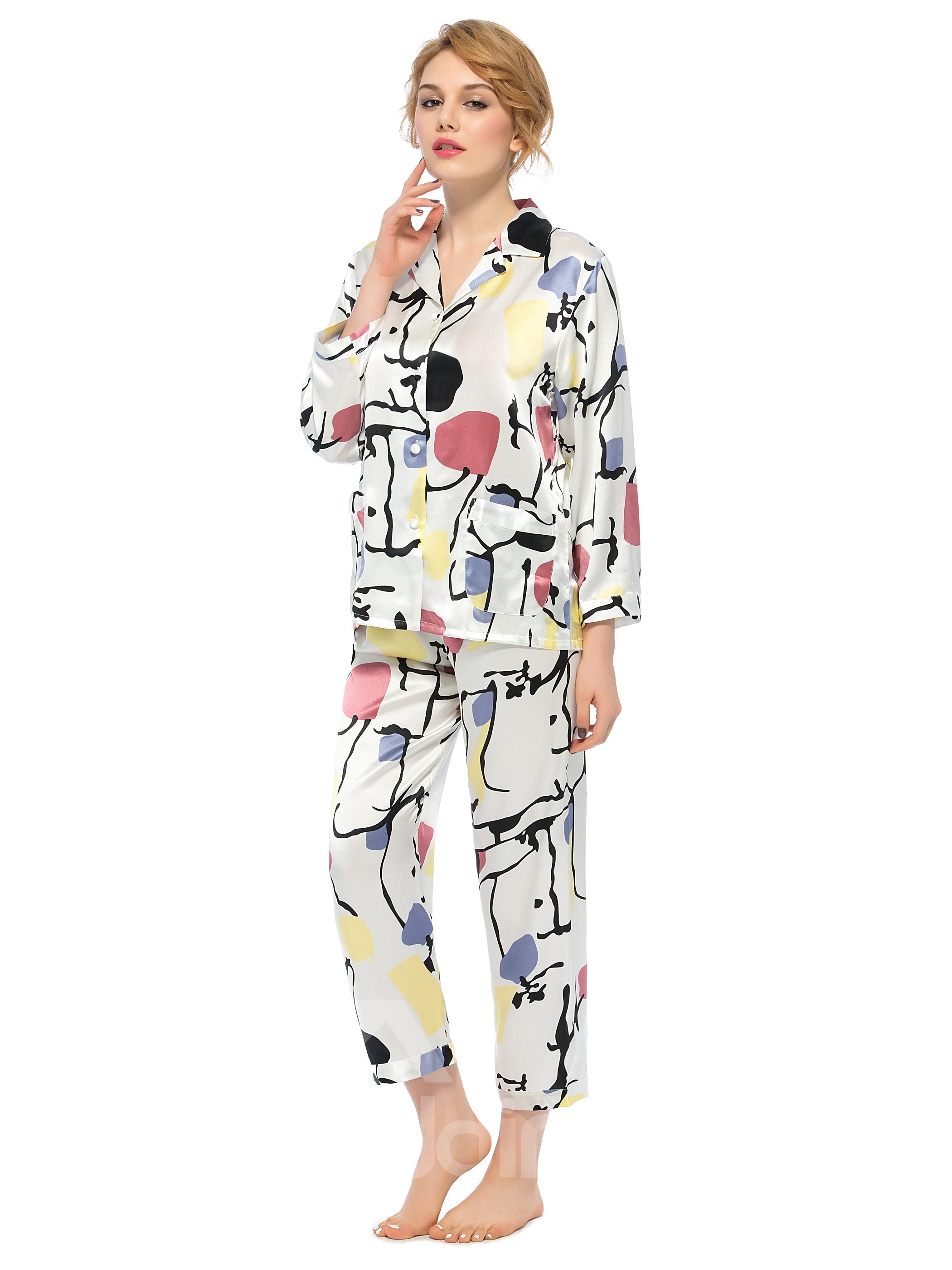 New Classic Notched Collar Long Sleeve Silk Wrapped Button Pajamas