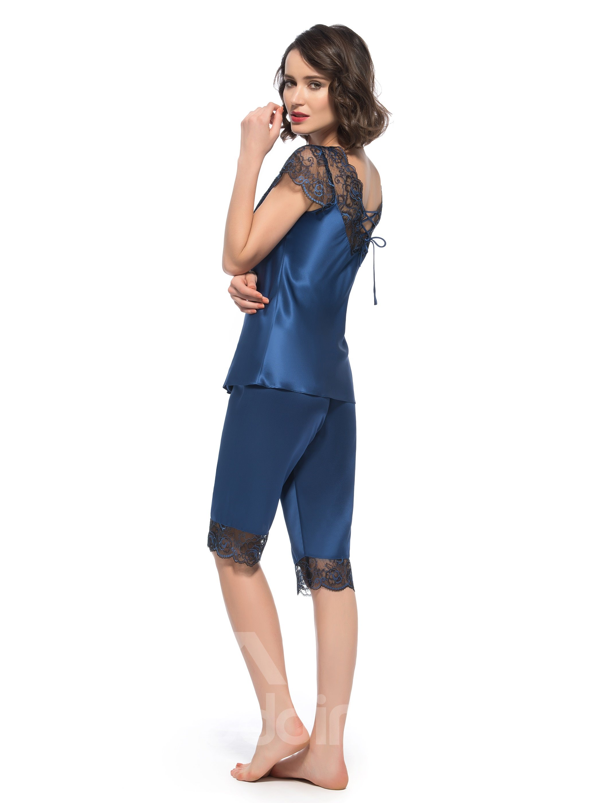 Beautiful Lace Along Bust and Back Short Sleeves Silk Pajamas