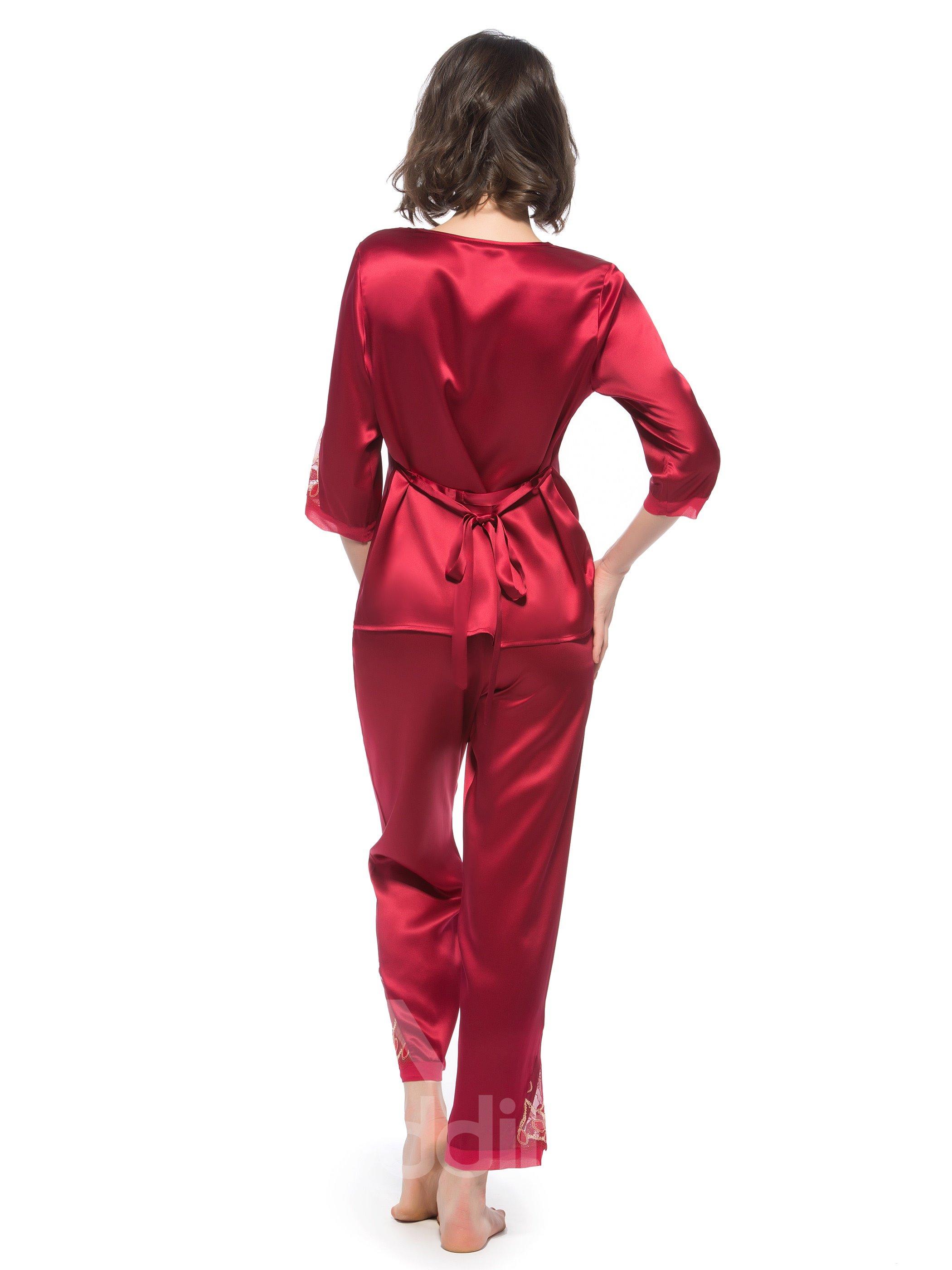 Beautiful Lace Along Shoulder and Cuff Folded Silk Pajamas