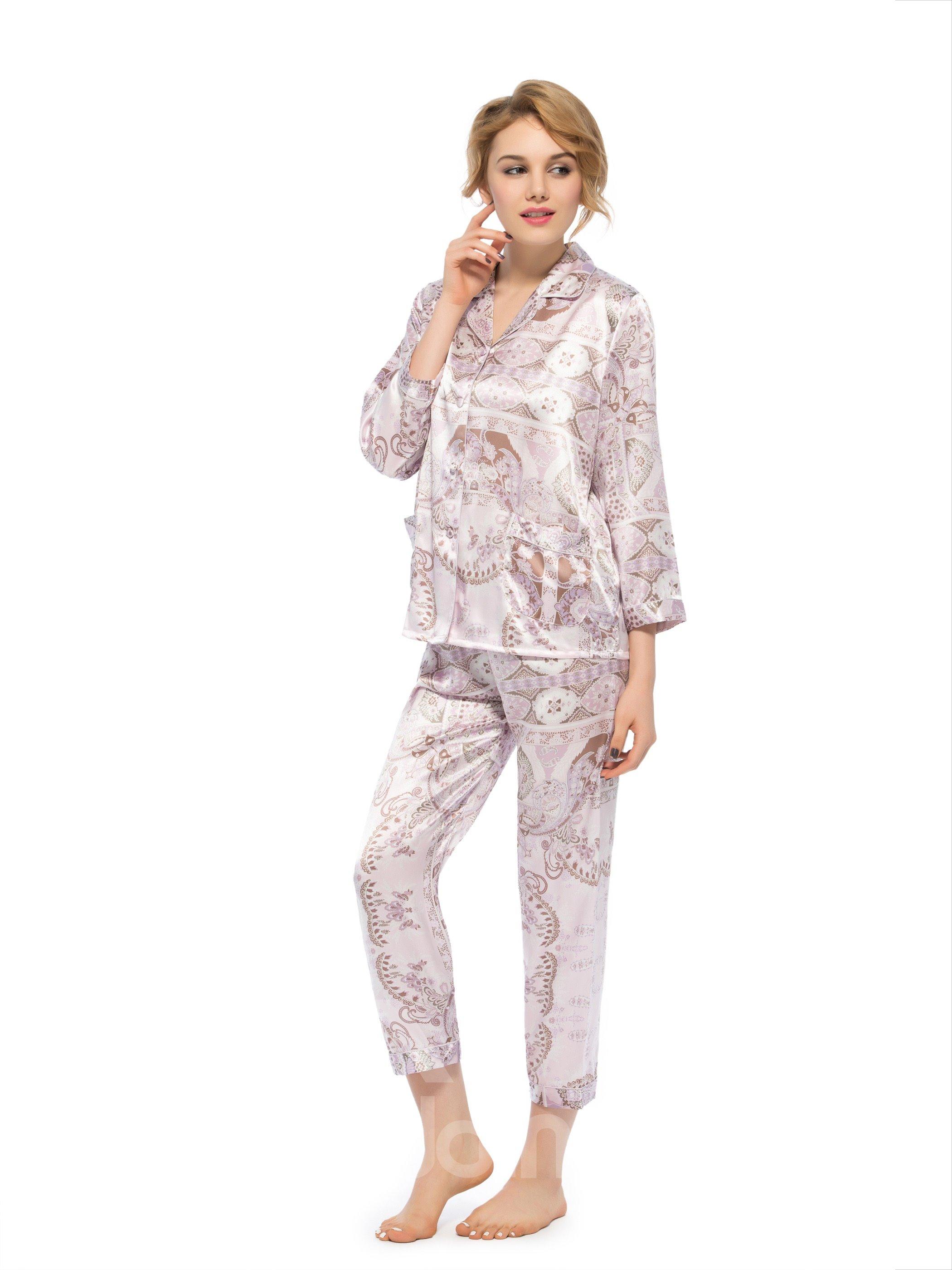 Best Selling Wonderful Two Handy Pockets Silk Pajamas