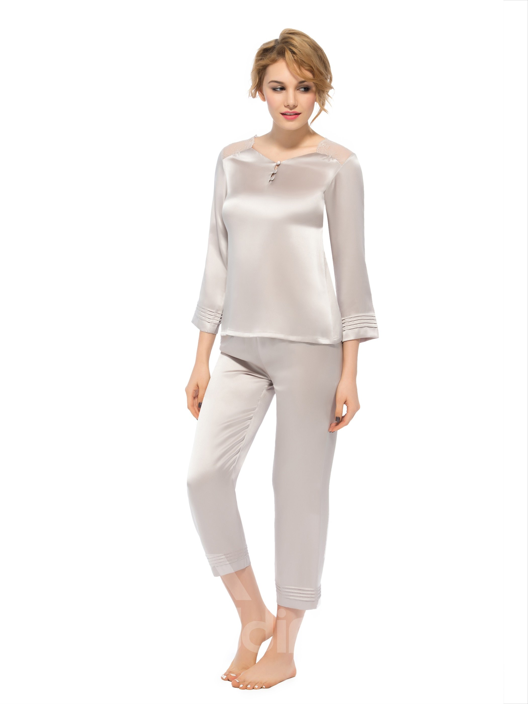 Pretty Lace Shoulder Belted Quarter Sleeves Silk Pajamas