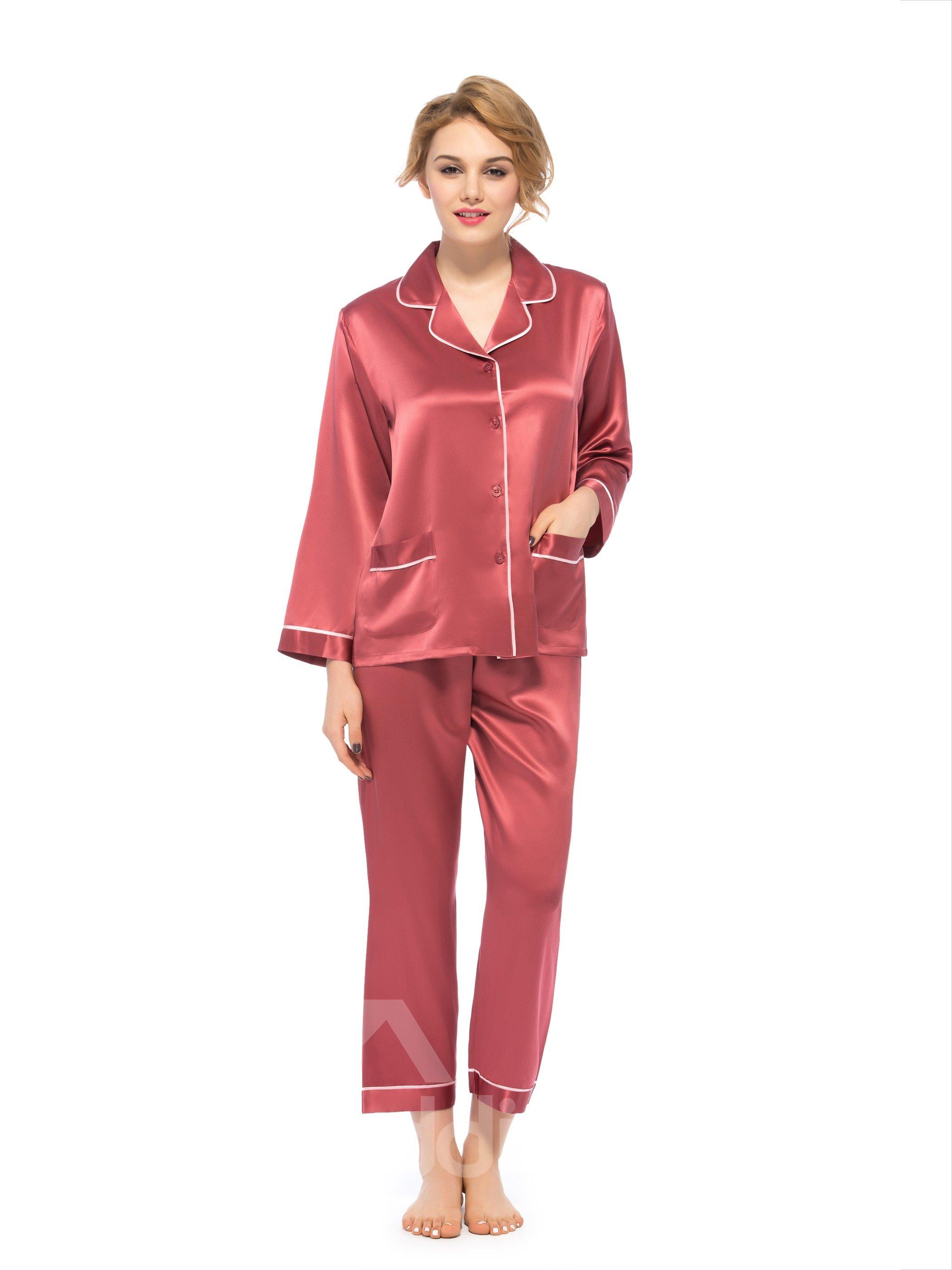 Wonderful Pretty Classic Collar Button Closure Silk Pajamas