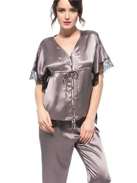 Beautiful Classic Design Bat Sleeves Silk Pajamas