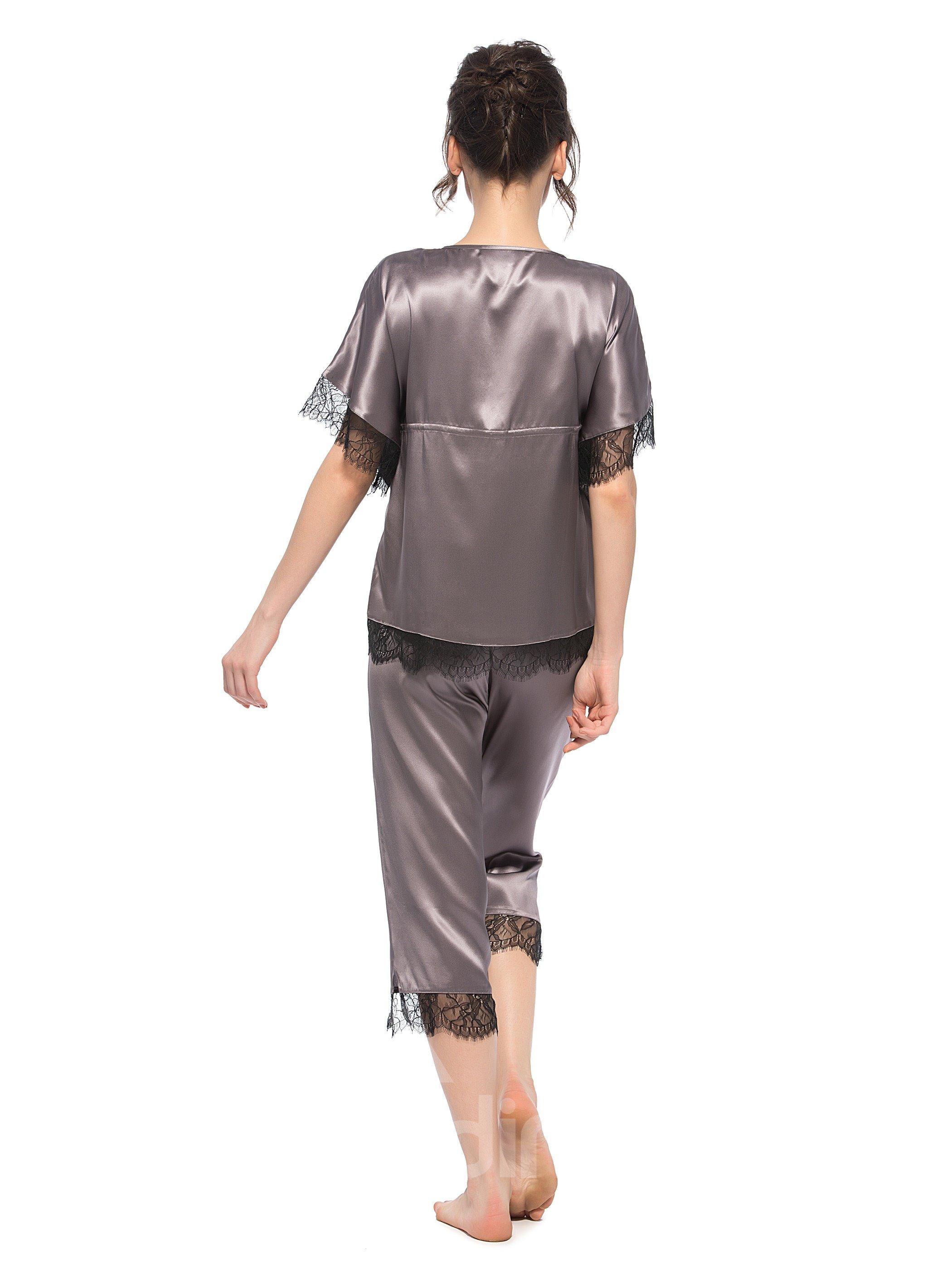 Beautiful Classic Design Bat Sleeves Silk Pajamas