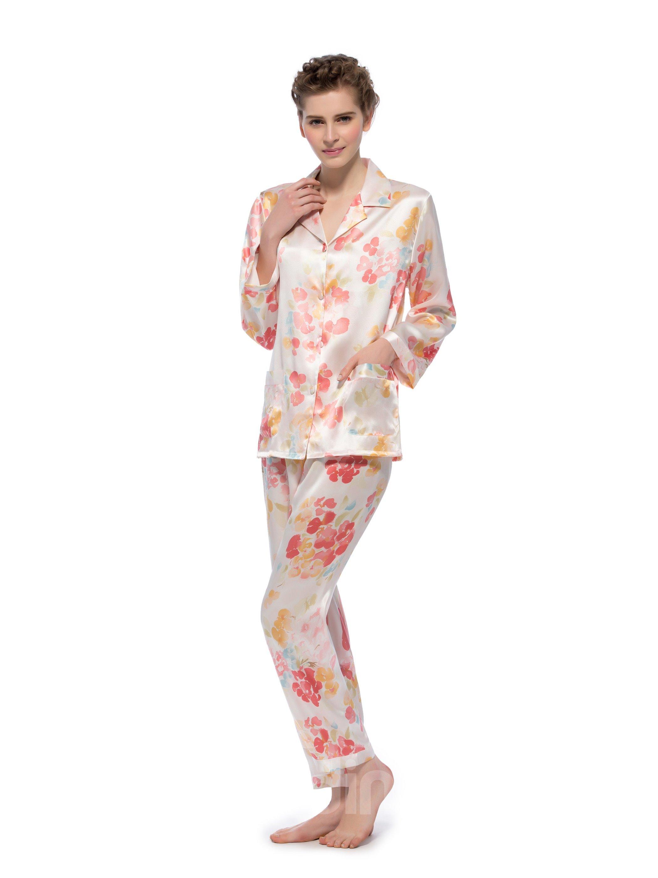 Best Selling Pretty Flower Open Collar Long Sleeves Silk Pajamas