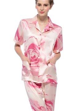 Wonderful Pretty Short Sleeves Silk Wrapped Button Pajamas