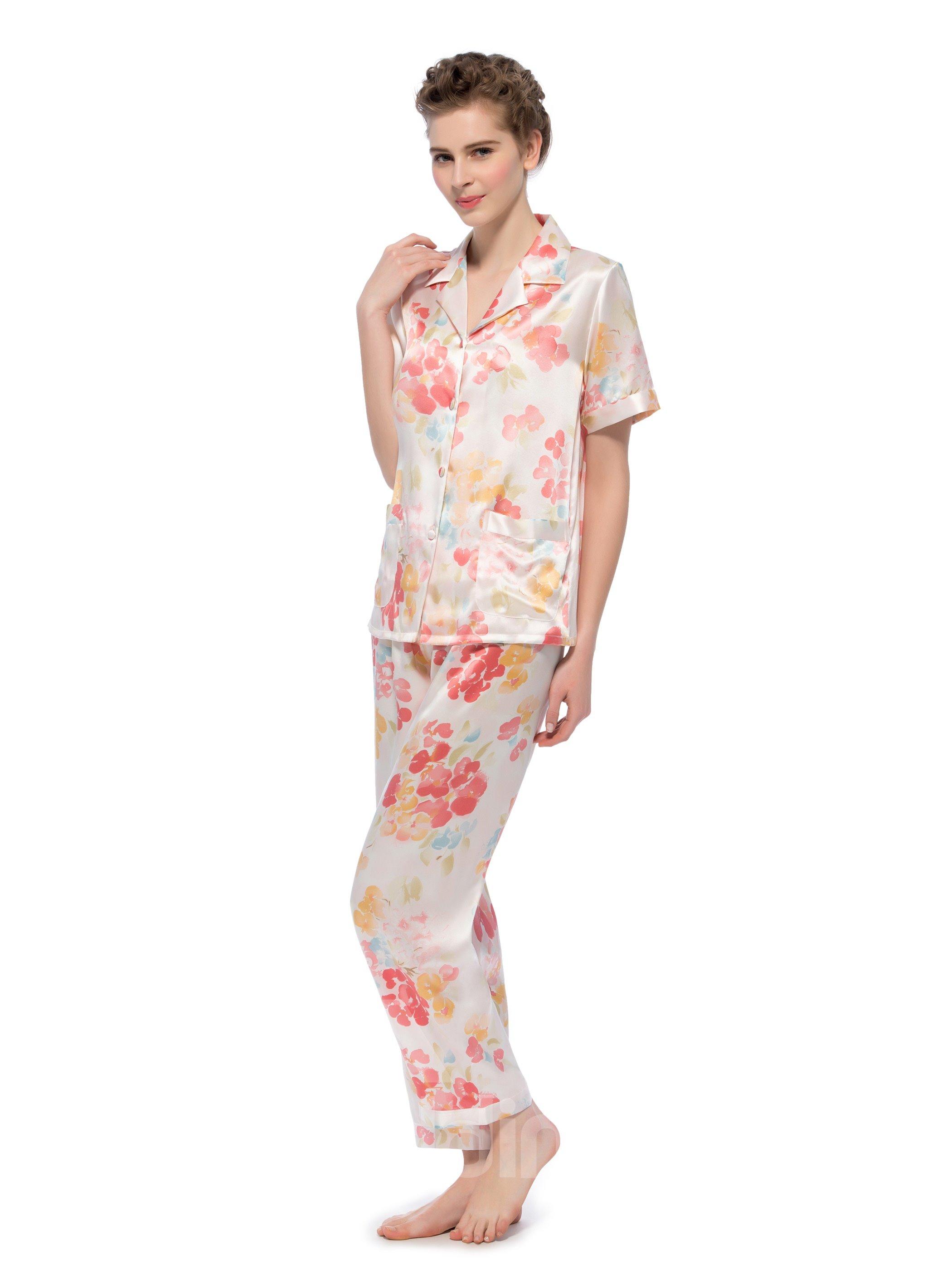 Top Selling Beautiful Flower Short Sleeves Silk Pajamas