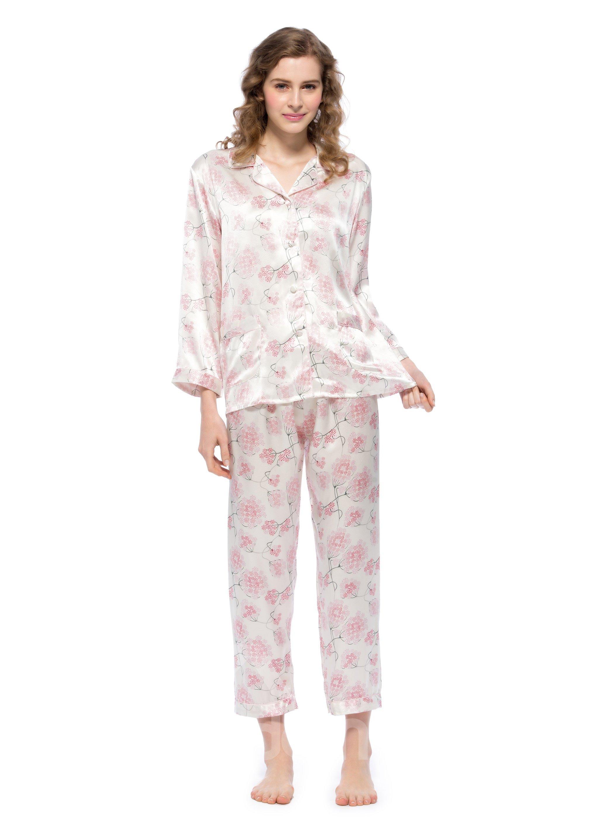 New Classic Elegant Flowers Print Mulberry Silk Pajamas