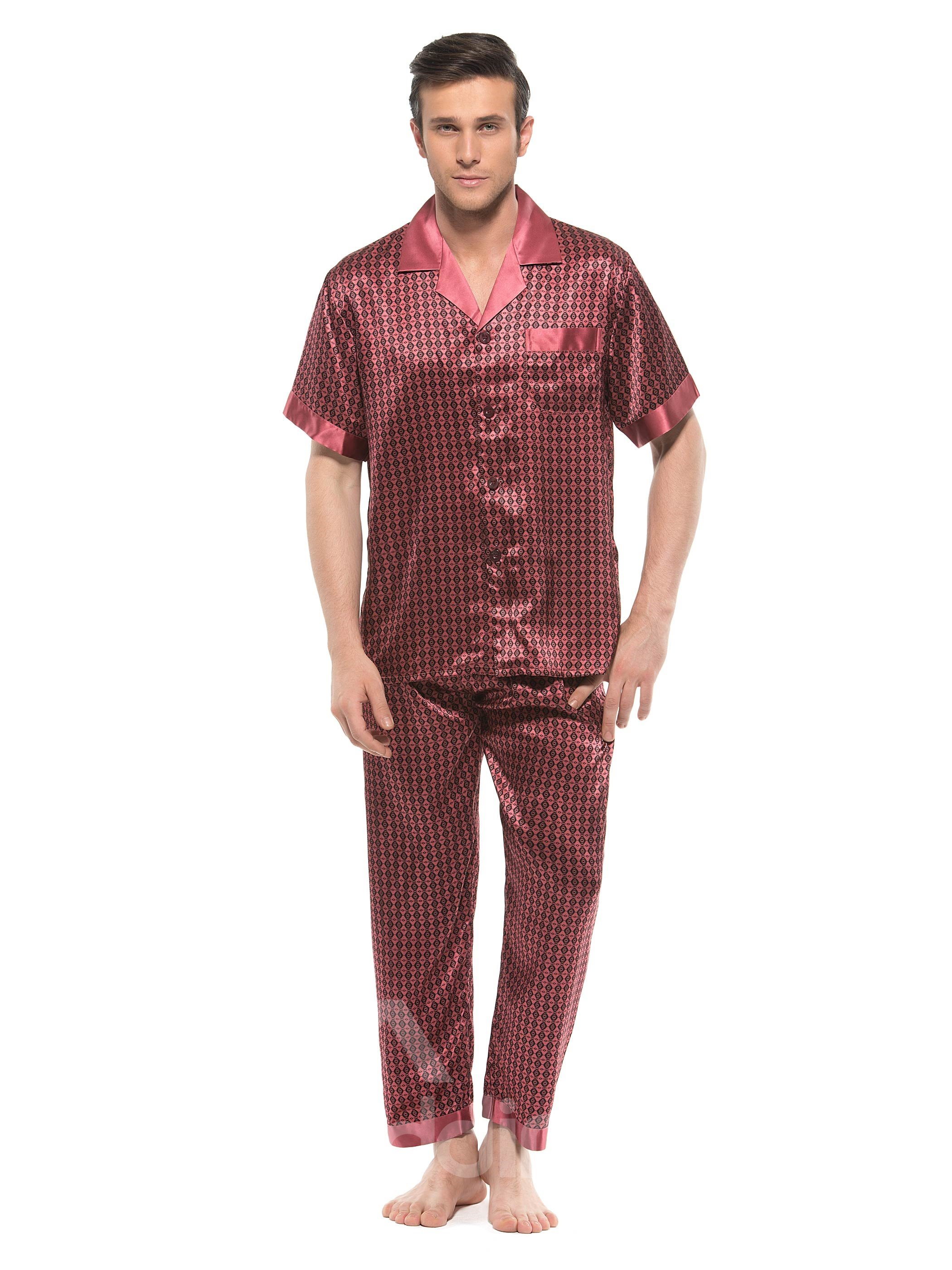 Paisley Flower Print Open Collar One Pocket Mulberry Silk Pajamas