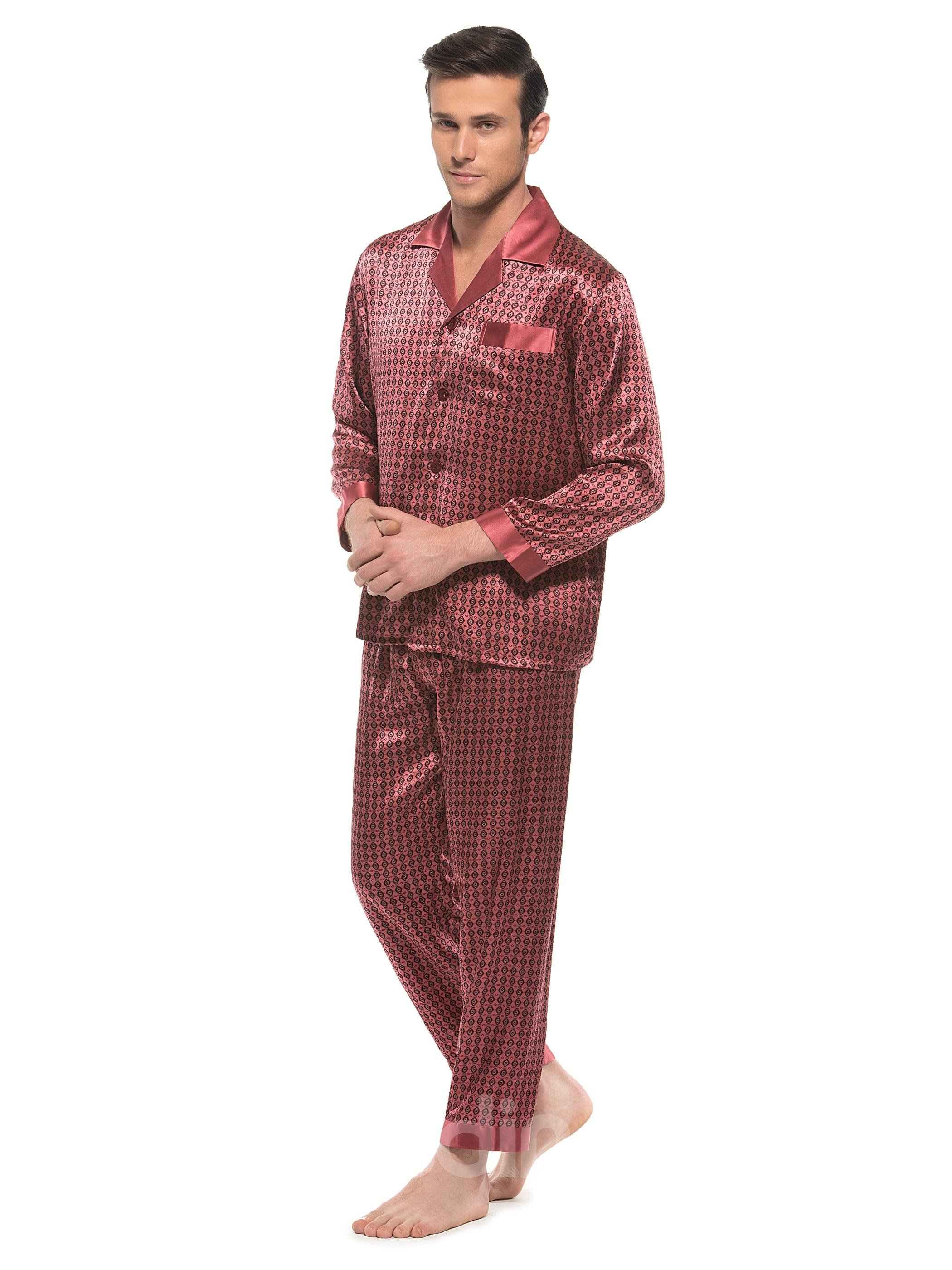 Polka Dot Open Collar One Pocket Mulberry Silk Pajamas