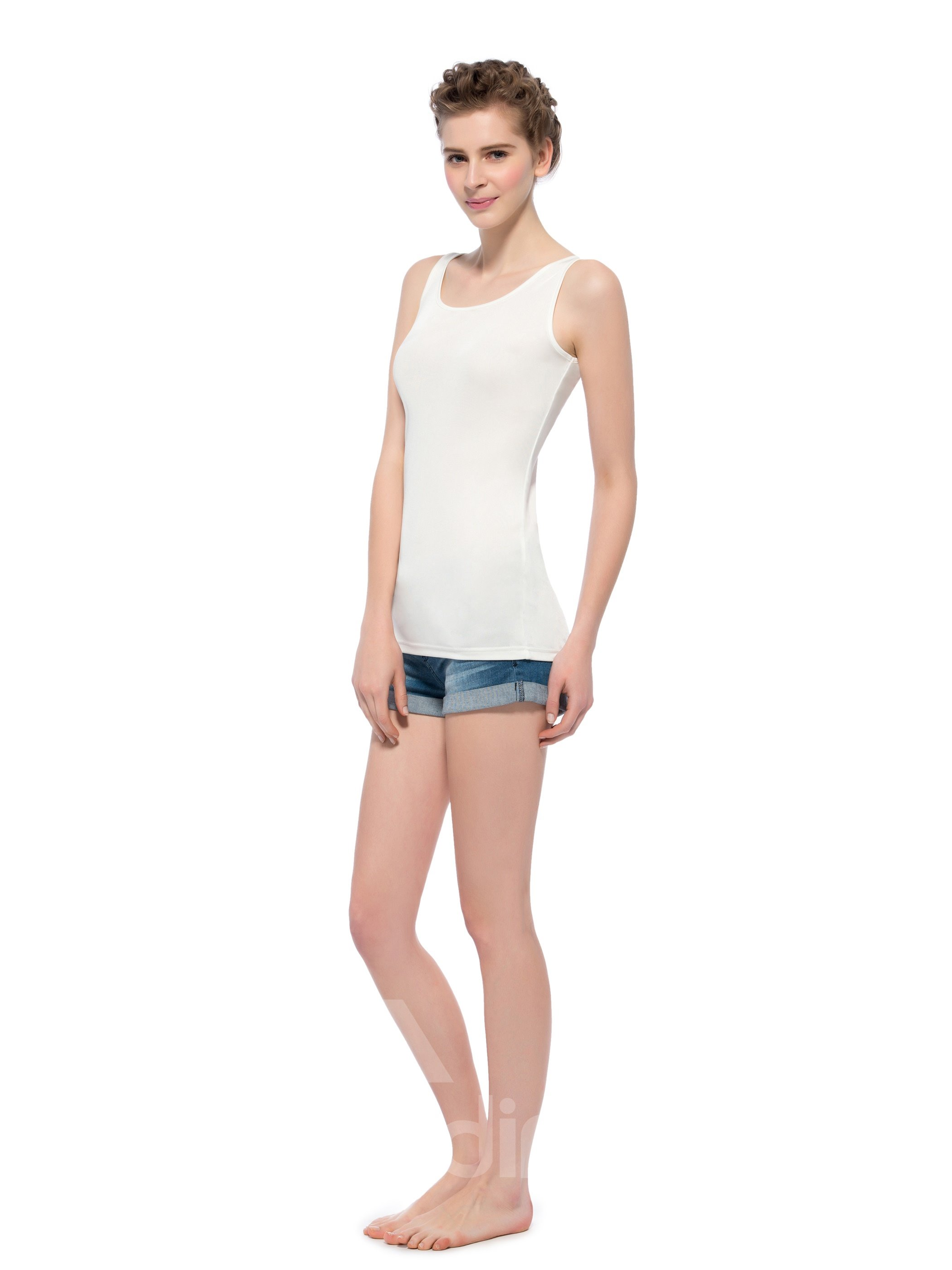 Top Quality Wide Strap Lengthened Bottom Silk Camisoles