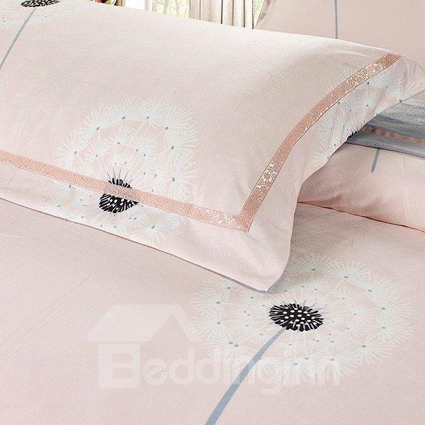 Super Soft Pink Dandelion Print 4-Piece Flannel Duvet Cover Sets