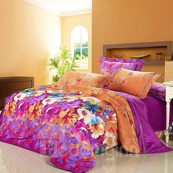 Bright Color Flower Garden 4-Piece Flannel Duvet Cover Sets