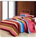 Rainbow Color Stripe Pattern 4-Piece Microfiber Duvet Cover Sets