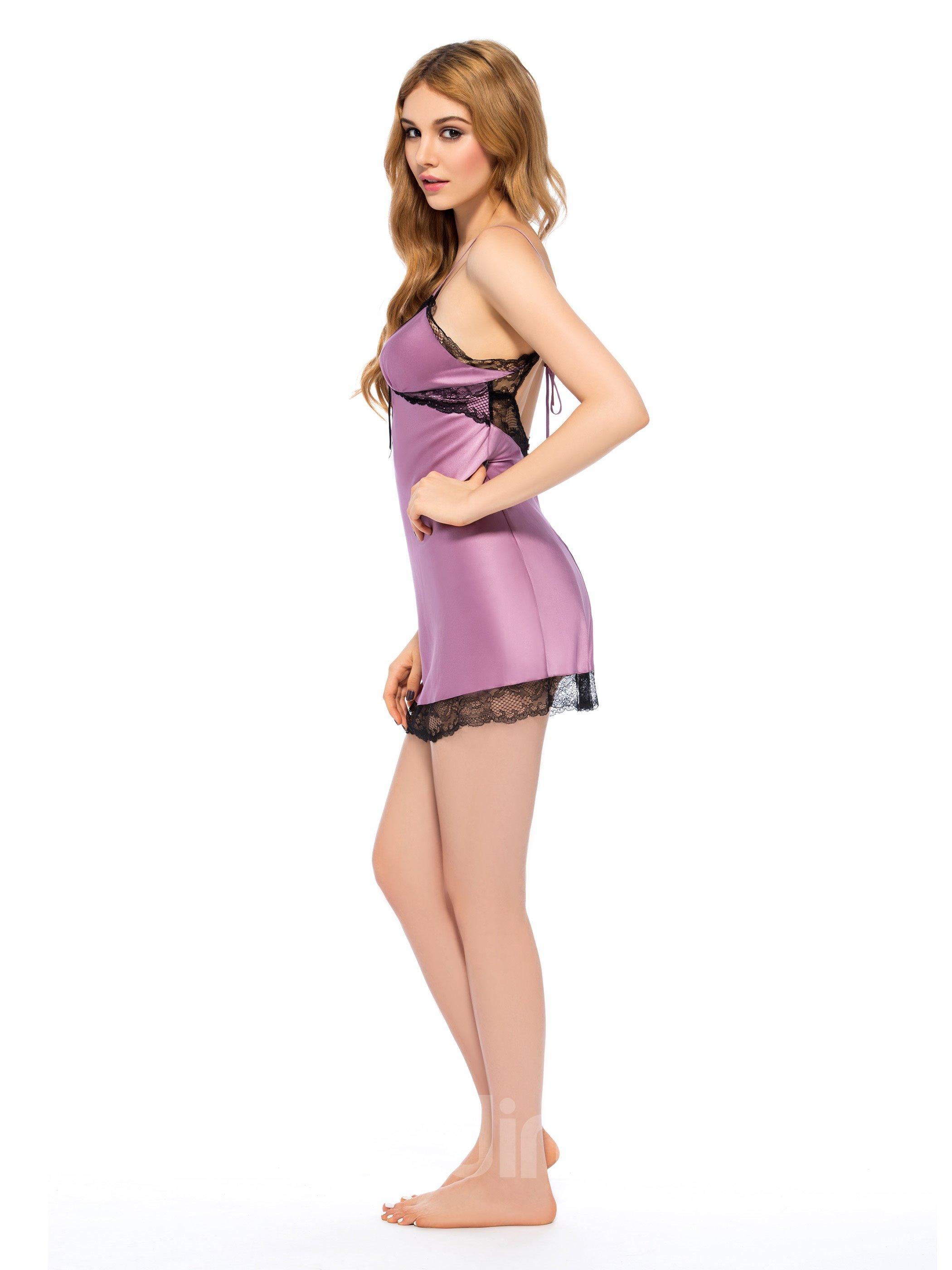 Wonderful Elegant Lace Trim Bust and Hem Silk Robe