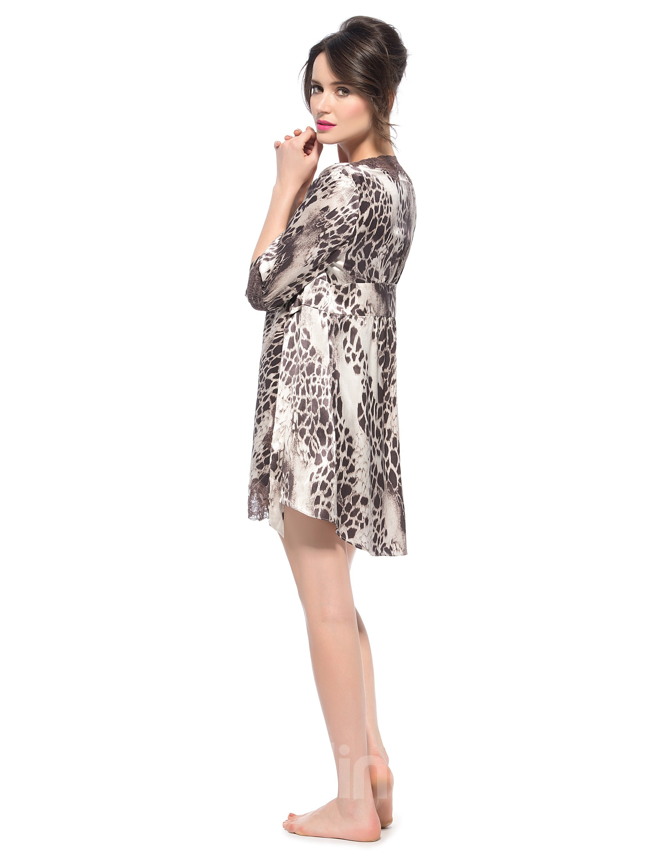 Top Quality Sexy Leopard Pattern Lace Robe Set