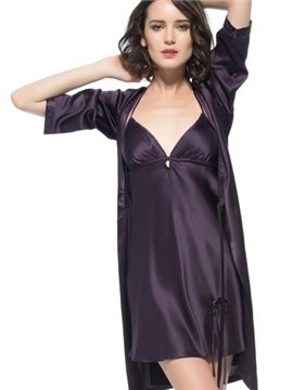 Wonderful Pretty Adjustable Strap Embroidery Collar Robe Set