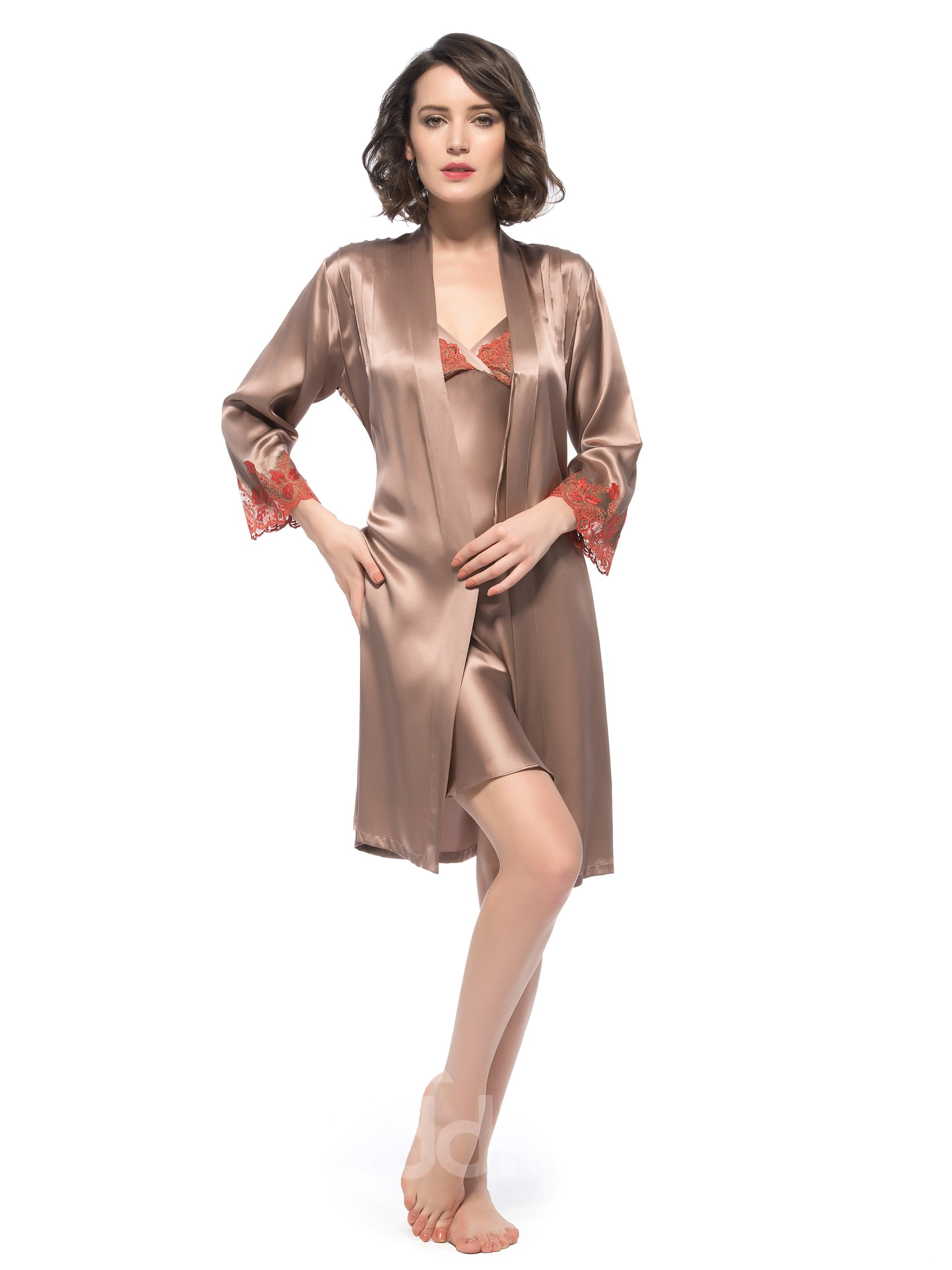Top Selling Wonderful Half Open Back Robe and Chemise Set