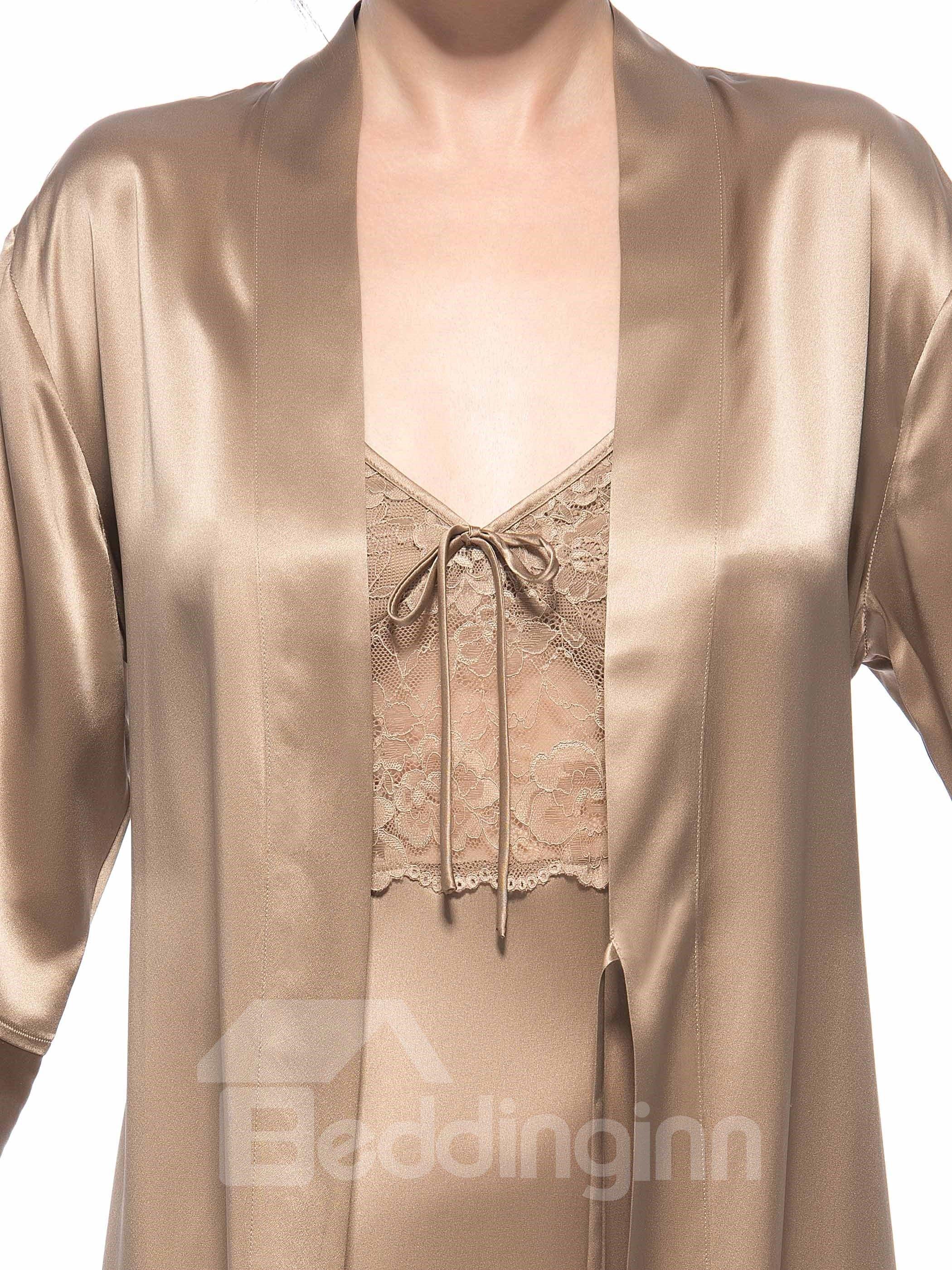 Pretty Wonderful High Classic Lace Bodice Belted Open Cuff Robe