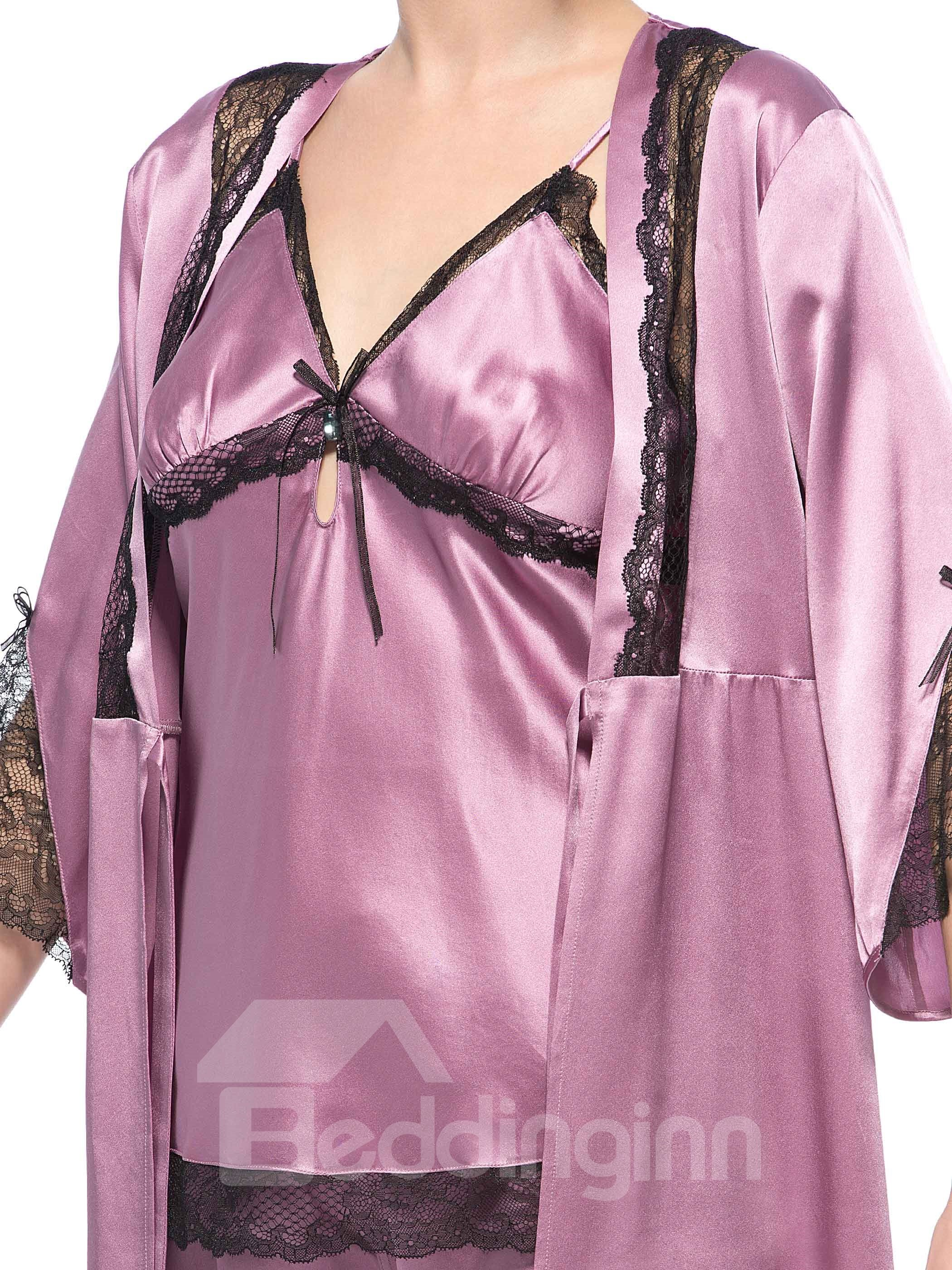 Wonderful Sexy Black Lace Silk Robe and Cami Sets