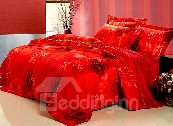 Luxury Red Rose Print 4-Piece Flannel Duvet Cover Sets 11116056