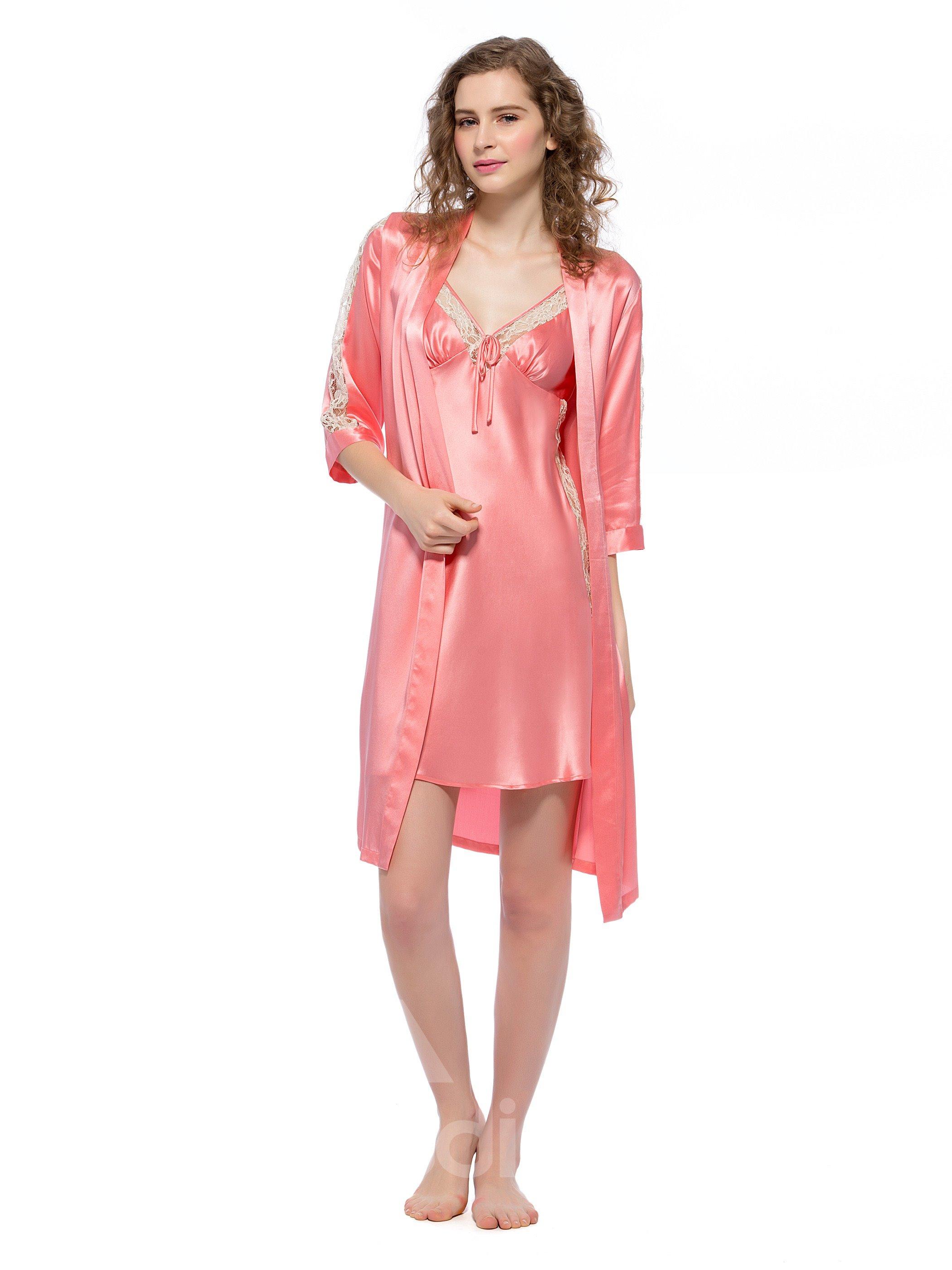 Elegant Lace Silk Robe and Chemises Sets