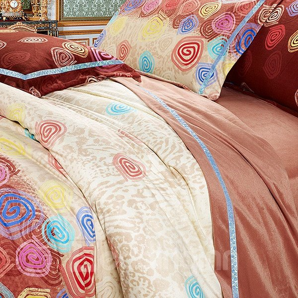 Sweet Colorful Donut Print 4-Piece Microfiber Duvet Cover Sets