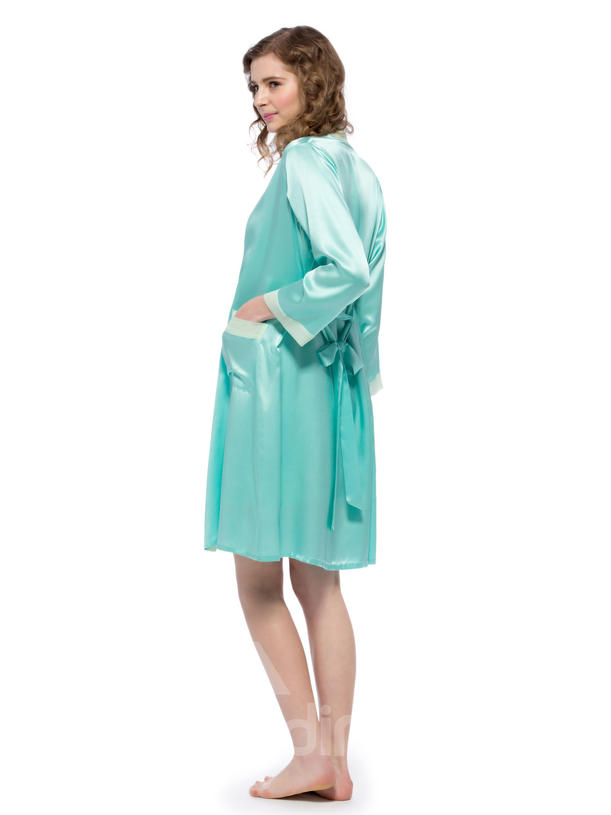 Light Green Mulberry Silk Robe and Chemi Set - beddinginn.com