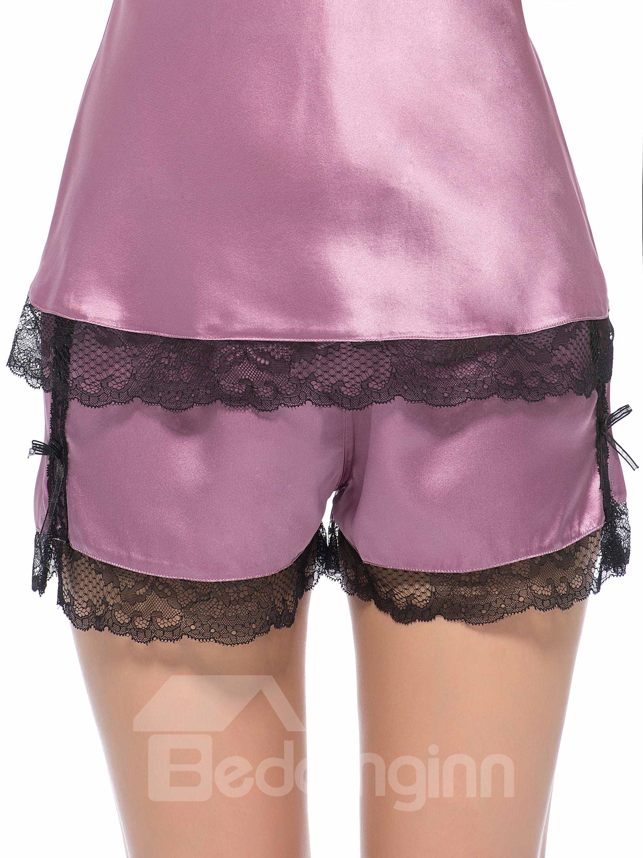 Light Purple Contra Black Lace Border Silk Cami and Shorts Set