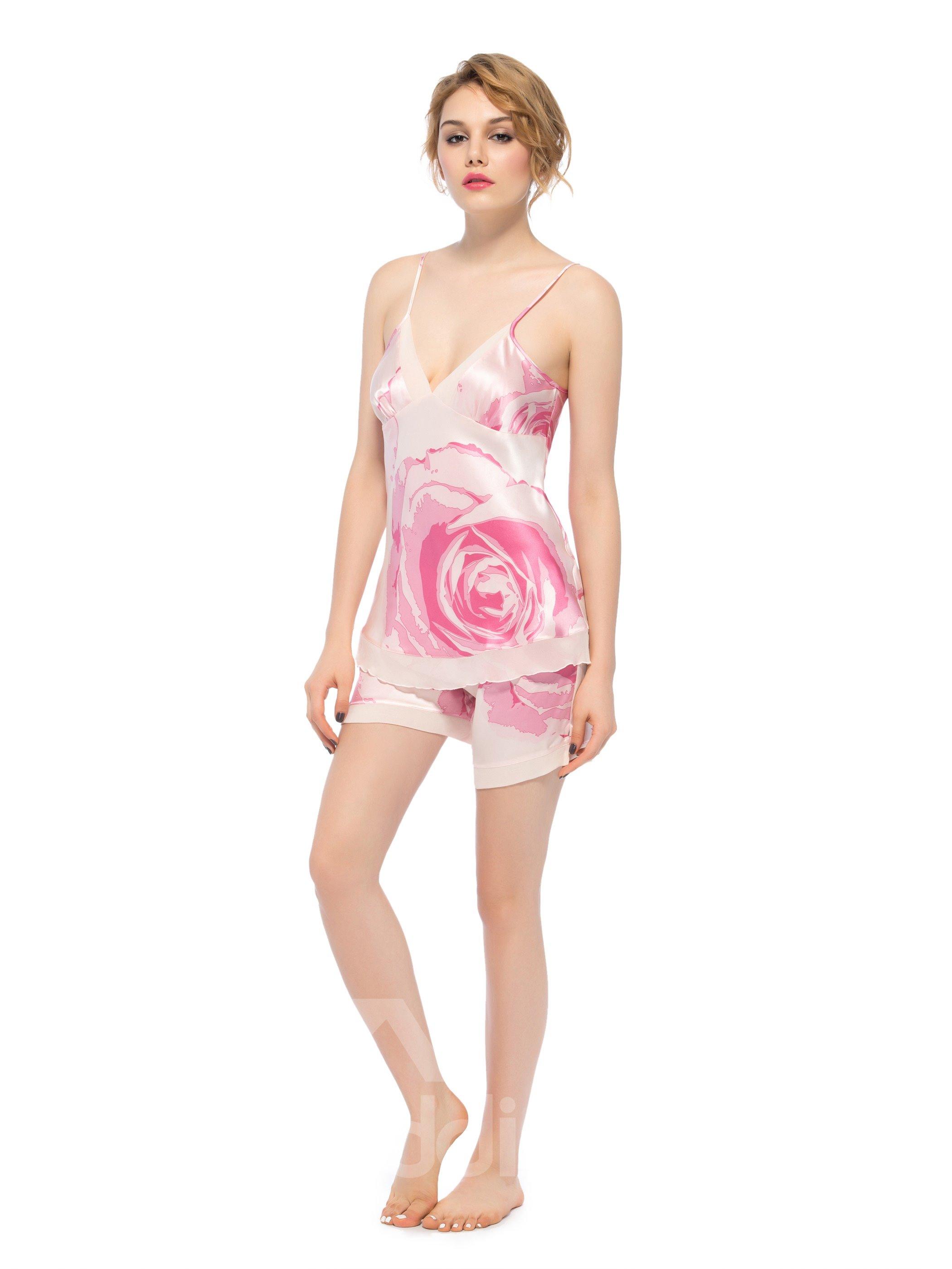 Graceful Pink Deep-V Bust and Back Double Hem Silk Cami Set