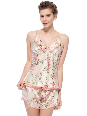 Lovely Flower Print Lace Trim Ruffled Bust Camisole and Shorts Set