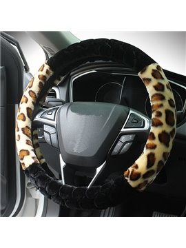 Super Lovely And Modern Leopard And Solid Color Pattern Steering Wheel Covers