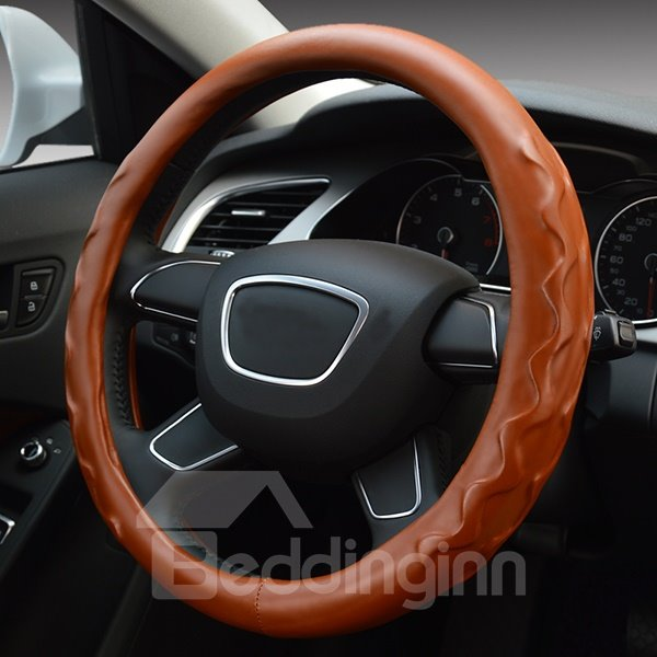 Super Comfortable Water Wave Pattern Leather Steering Wheel Covers