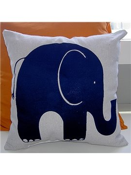Bright Blue Elephant Pattern Super Soft and Comfortable Throw Pillow