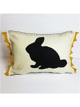 Rectangle Black Rabbit Pattern Environmental Soft Throw Pillow