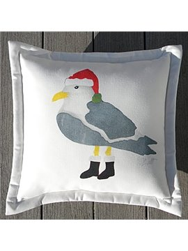 Christmas Gift Santa Claus Bird Pattern Solid Throw Pillow