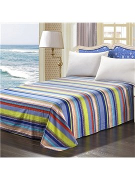 Super Beautiful Bright Colors Stripes Pattern 100% Cotton Stripe Sheet
