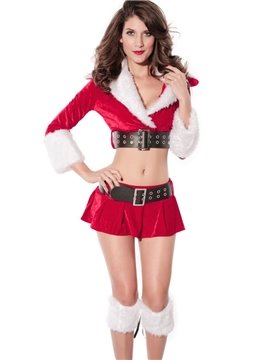 Sexy 2 Pieces Belted Velvet Red Christmas Costume