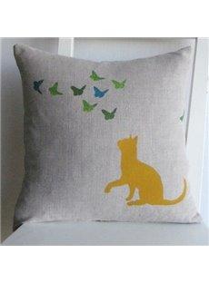 Cute Lovely Cat Watching Flying Butterflies Pattern Throw Pillow