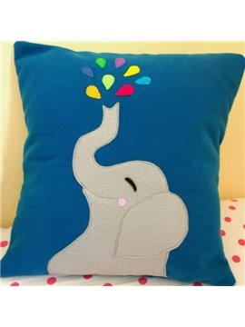 Cute Elephant Spray Water Pattern Throw Pillow
