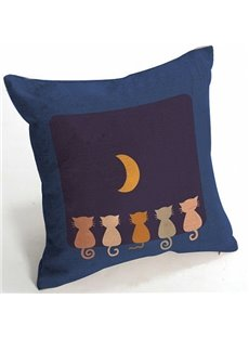 Five Cute Cats Watching the Moon Pattern Throw Pillow