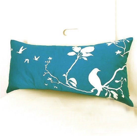 Green Background Color White Bird and Branches Throw Pillow