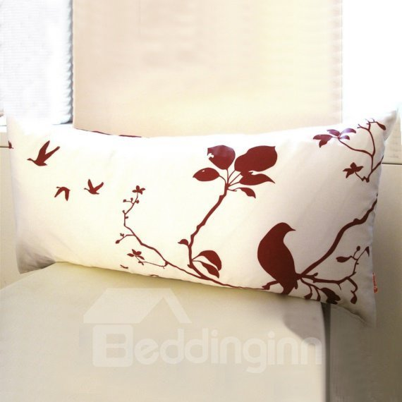 Rectangle White Background Color Brown Bird Pattern Throw Pillow