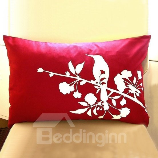 White Bird and Flowers Pattern Bright Color Background Throw Pillow
