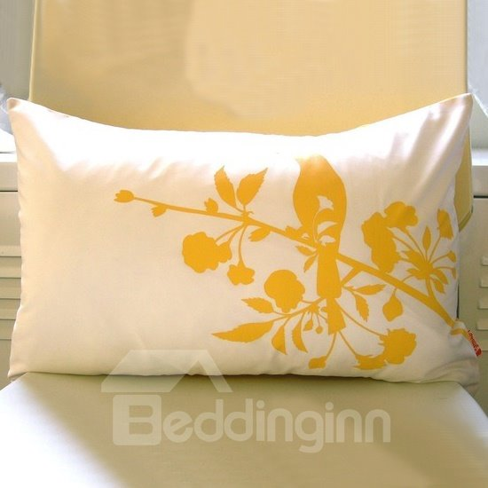Bright Color Bird and Branches Pattern White Throw Pillow