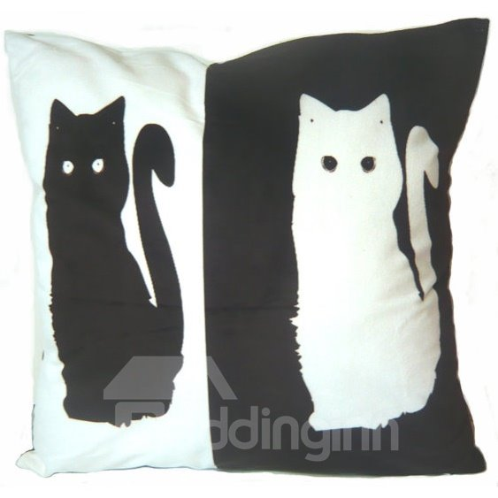 Special Design Black and White Cat Pattern Throw Pillow