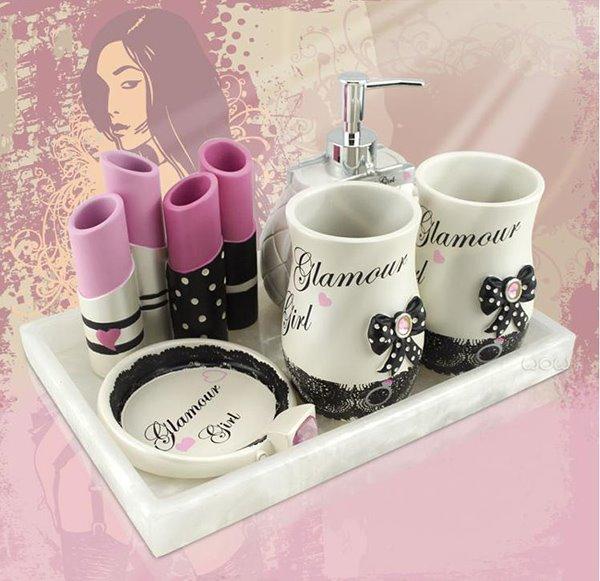 Stylish Creative Cosmetic Design 5-piece Bathroom Accessories
