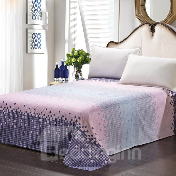 Gradient Style Blue and Pink Squares Cotton Stripe Sheet