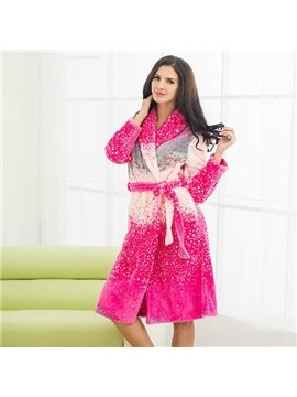 High Quality Thicken Colorful Coral Fleece Female Bathrobe
