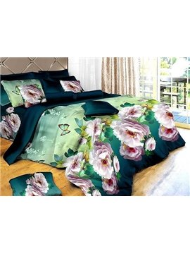 Fresh Butterfly and Flower Print 4-Piece Polyester Duvet Cover Sets
